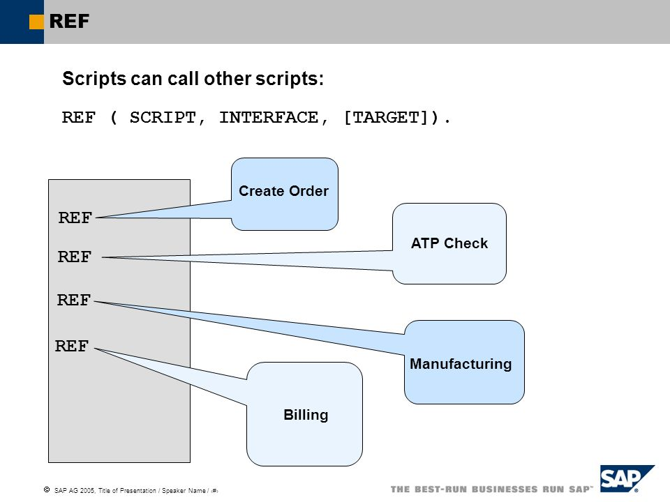 Scripts can call other scripts: REF ( SCRIPT, INTERFACE, [TARGET]).